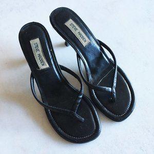 Steve Madden black leather flip flop sandal heels